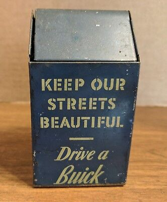 Vtg Advertising Swing Top Tin Trash Can Keep Our Streets Beautiful Drive A Buick
