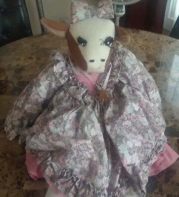 Vintage Handmade Unique Lady Cow Girl Doll Plush Wearing a Dress & Bell Girl