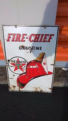 RARE! 1947 Fire Chief gas and oil porcelain sign