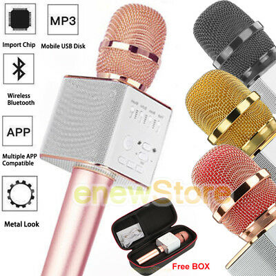 Q9 Wireless Microphone Speaker Bluetooth KTV Karaoke USB+Box For iPhone Android