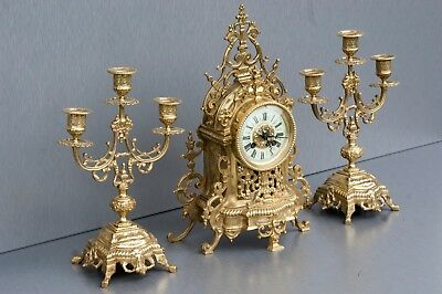 Antique  French 19th Brass clock with 2 candelabras