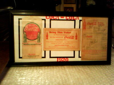 COCA - COLA 1920,s ORIGINAL VINTAGE FRAMED MEMORABILIA DISPLAY  - EXCELLENT!