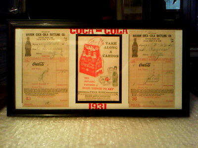 Coca - Cola Original Vintage 1930's Framed Memorabilia Display  - Excellent!