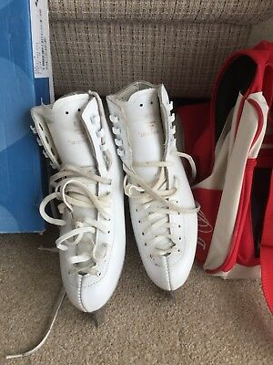 Risport White Girls Size 4 Leather Ice Skates, EDEA Carry Bag