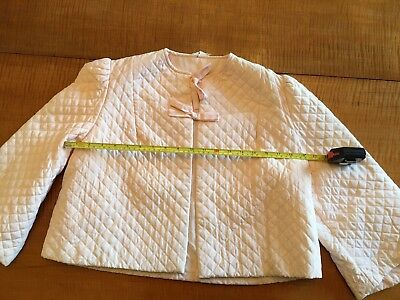 vintage bed jacket, pink quilted, interior pocket, bow ties on front