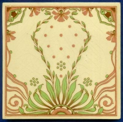 Jugendstil Fliese Kachel, Art Nouveau Tile, MINTON HOLLINS, Ranke / Tendril 1900