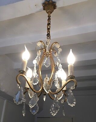 Antique French Gilt Bronze Chandelier 4 Arm Ceiling Light Crystal Prisms