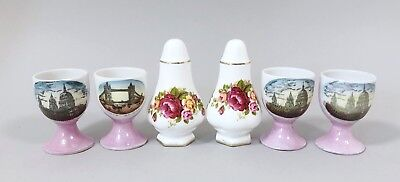 Vintage set 4 porcelain pink egg cups Tower Bridge rose salt pepper shakers