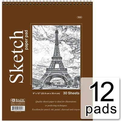 "12 pks Bazic Spiral Sketch Pad Book 9"" x 12"" 360 Paper Sheets for Pencil Pastel"