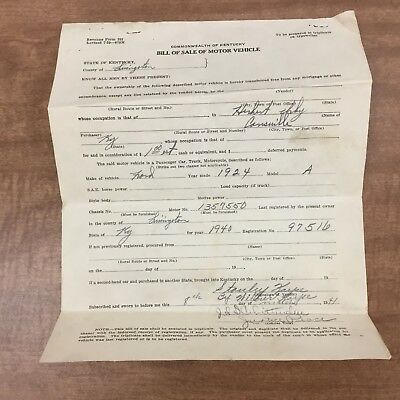 1924 Model A Ford Bill Of Sale - From 1940 - Kentucky