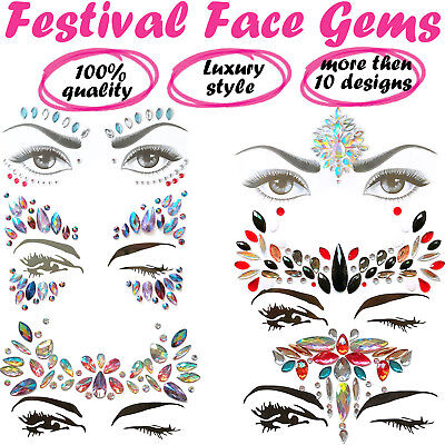 Face Gems Adhesive Glitter Jewel Tattoo Festival Rave Party Body Stickers Rock