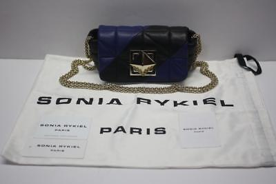07272349885 SONIA RYKIEL Le Copain Le Copa Small Blue & Black Leather Quilted  Cross-Body Bag