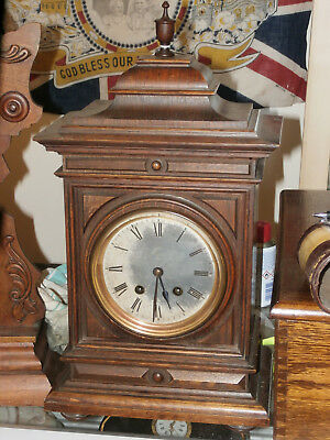 Antique Lenzkirk Oak Cased Striking Bracket Mantle Clock - WORKING with Key
