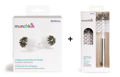 Munchkin Shine Stainless Steel Bottle Brush & 3 Refill Brush Heads