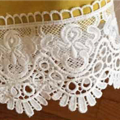 1Yard Vintage Embroidered Scalloped Lace Trim Fabric Wedding  Applique Sewing
