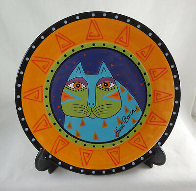 Laurel Burch for Ganz Light Blue Cat Collector Plate NEW Mint Hand Painted