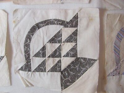 "Lot of 9 PRIMITIVE BASKETS Quilt Blocks 8"" sq Hand-Pc'd c1860-80 Civil War Era"