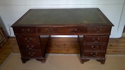 Large Mahogany Pedestal Desk With Green Leather