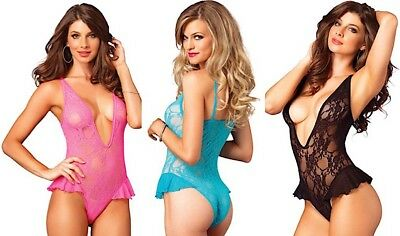 Leg Avenue Sexy Floral Lace Deep-V Flutter Teddy/Body With Ruffles On Hips O/S