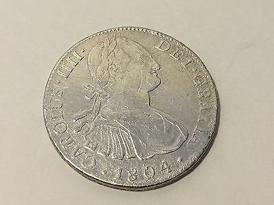 1804 TH Mexico Coin 8 REALES Silver Spanish Colonial  XF  KM# 109