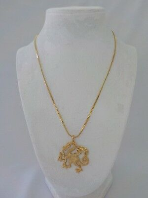 Vintage Dragon Wings Necklace Gold Tone Metal Diamond Cut Flying