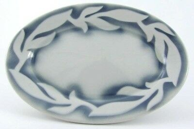 """JL Pasmantier & Sons Sterling China Oval Dish Plate C-8 Gray Air Brushed USA 7"""""""
