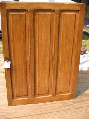 "Golden Oak Antique Small Cupboard 33""-24""-7""- One Door-4 Shelves-Raised Panels"