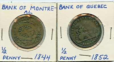 1844 & 1852 1/2 PENNY UPPER CANADIAN BANK TOKENS  *hucky*