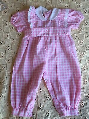 Vintage COLOR KIDS Girls 12M Light Pink & White Gingham Checked 1 piece Romper