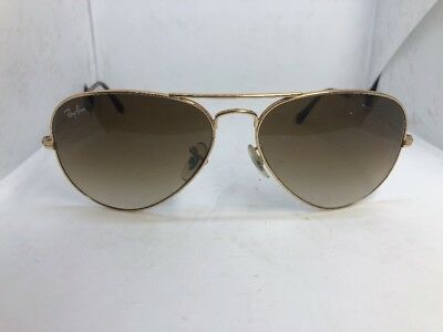 Womens Authentic Ray-Ban Aviator Sunglasses RB3025 001/51 58 Gold Brown Gradient