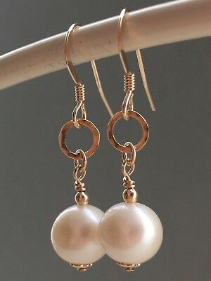 Round White Freshwater Pearls & Hammered Hoops 14ct Rolled Gold Earrings