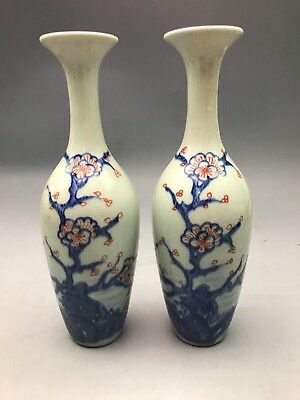 Amazing China Ancient Pair Of Staff Shaped Porcelain Vase With Plum Tree 7.87""