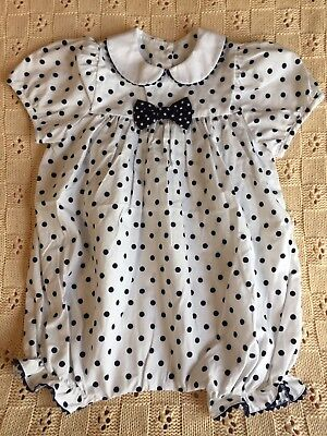 Vintage BABY CARY sz3 Toddler White Bubble Romper With Navy Blue Polka Dots