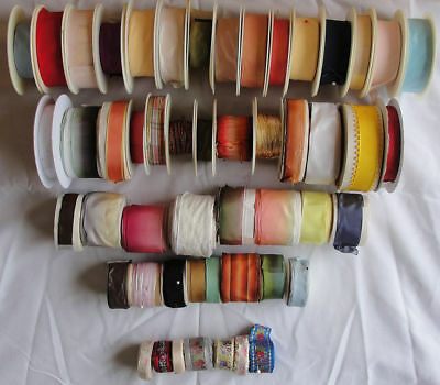 Lot of 50 Rolls Vintage Imported French Silk Rayon Ribbon / Trim / Lace & Gimp 1