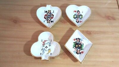 4 Pcs Vintage Porceline Snack Dishes Ashtray Playing Card Suits Hand-Painted
