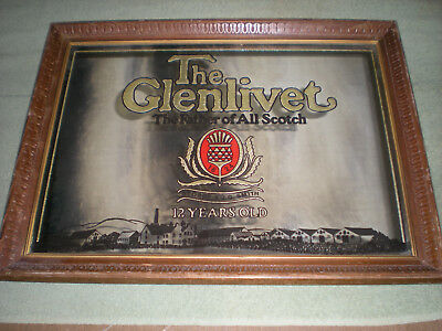 very rare vintage The Glenlivet,The Father of All Scotch mirror (grt cond)