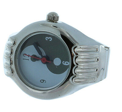 yin yang Symbol Ring Watch with Silver Tone Case and Expandable Shank