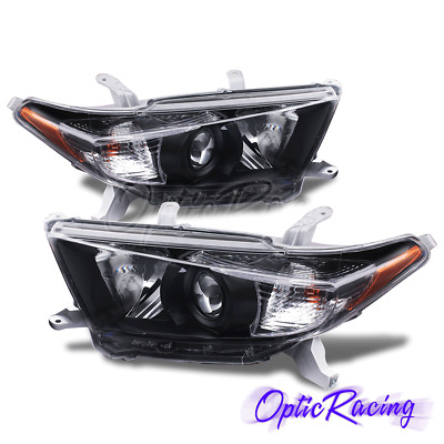 [Factory Style]For 2011 2012 2013 Toyota Highlander Black Headlights Pair