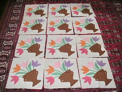 "Vintage ""Flower Basket"" Applique Quilt Blocks  (12) 18x18"""