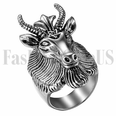 Punk Mens Stainless Steel Satan Ram Aries Zodiac Sheep Goat Head Horn Biker Ring