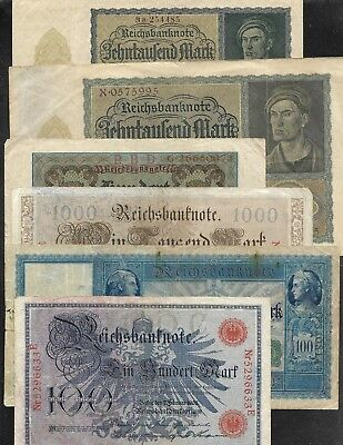 Germany - 12 Diff. Notes - 1908 to 1923 - 100 to 5 Million Marks - FINE to VF