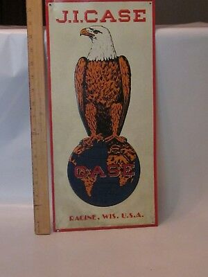 J. I. Case White Metal Sign Eagle & World Image Racine, Wis. U.S.A. advertising