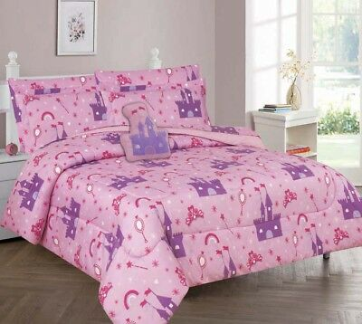 Princess Palace Full or Twin Kids Comforter Bed Set With Plush Toy and Sheet Set