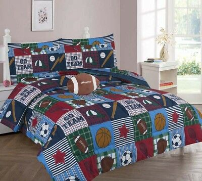 Rugby Sports Full or Twin Kids Comforter Bed Set With Plush Toy and Sheet Set