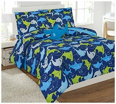 Blue Shark Full or Twin Kids Comforter Bedding Set With Plush Toy and Sheet Set