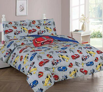 Race Cars Full or Twin Kids Comforter Bedding Set With Plush Toy and Sheet Set