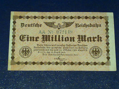 Germany -1 Million Mark Rail Banknote 1923-Inflation - Very  Fine