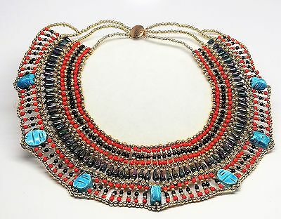 Stunning Antique Vintage Egyptian Revival with Scarabs Necklace