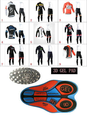 WL526 Mens MTB Cycling Winter Thermal Fleece long sleeve jersey Bib Pants Kits