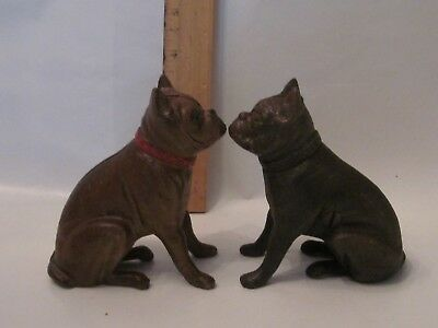 Vintage Cast Iron French Bulldog Still Bank pair A C Williams original reproduct